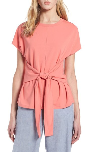 HALOGEN halogen wrap detail stretch knit top in coral rose tea - A wrap-style tie creates a waist-whittling effect that...