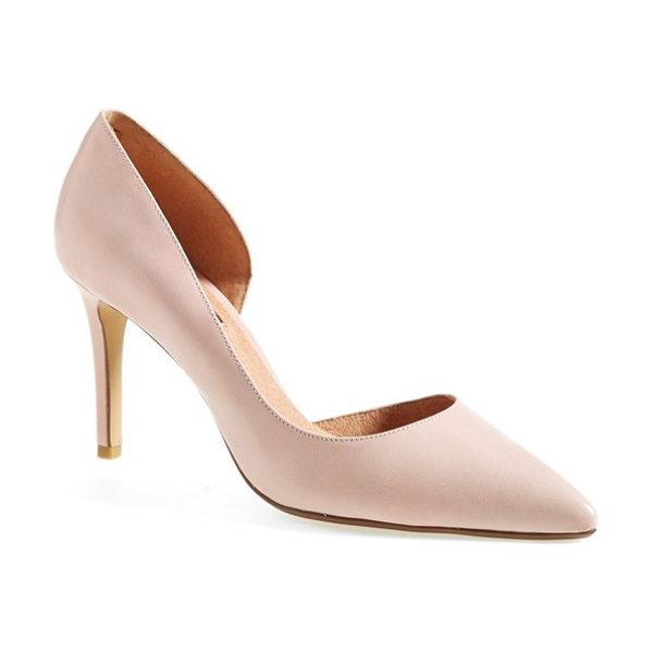Halogen marlie pointy toe pump in blush leather - An exquisitely feminine half d'Orsay pump flaunts a...
