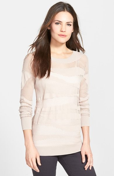 HALOGEN mesh pattern sweater - A long crewneck pullover makes a pretty layering piece...