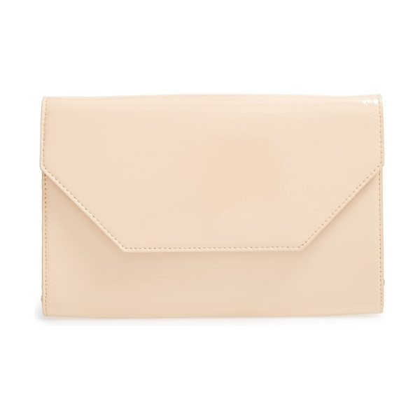 Halogen halogen patent leather clutch in beige almond - Liquid-shine patent leather illuminates the smart modern...