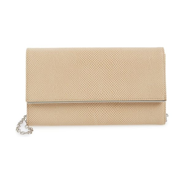 Halogen Halogen saffiano leather clutch in tan sparkle lizard - Saffiano leather composes a slim, sophisticated clutch...