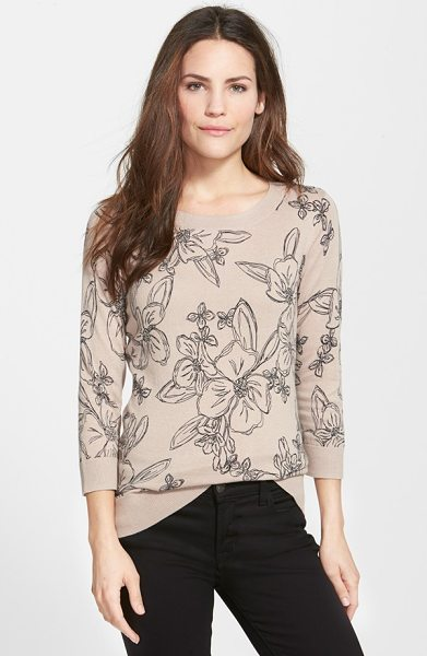 Halogen three quarter sleeve sweater in tan- black linear floral - A fine-gauge, three-quarter-sleeve sweater is styled...