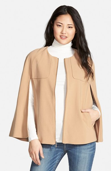 Halogen twill cape in heather camel - Collarless design and rounded shoulders create a softly...