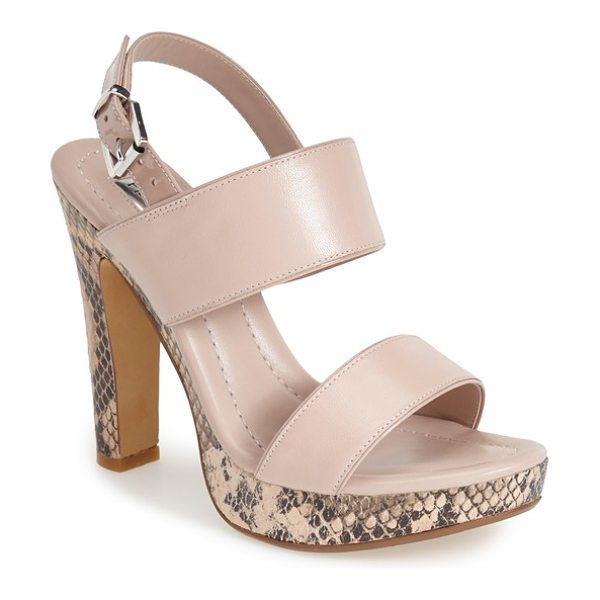 Halogen verona slingback platform sandal in nude/ snake print leather - Snake embossing adds a sophisticated accent to the...