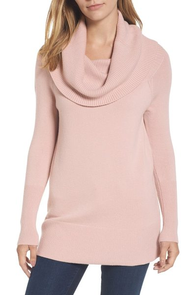 Halogen halogen convertible neck sweater in pink adobe - The ribbed fold on this cozy, merino wool-infused knit...