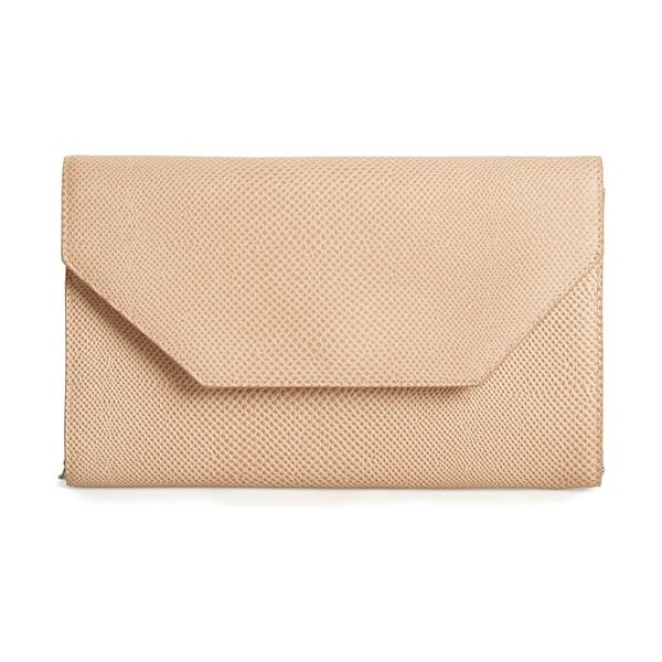 Halogen Halogen angled leather day clutch in tan sparkle lizard - It's all about the angles on a mod envelope clutch with...