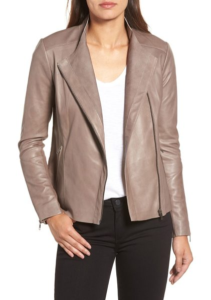 Halogen halogen asymmetrical leather jacket in taupe dusk - An asymmetrical zipper cuts down the front of this sleek...
