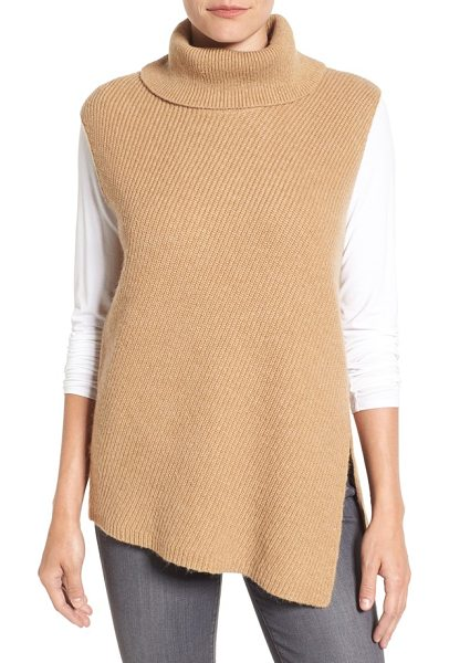 Halogen halogen asymmetrical sleeveless tunic sweater in heather camel - An asymmetrical hemline modernizes a wonderfully cozy...