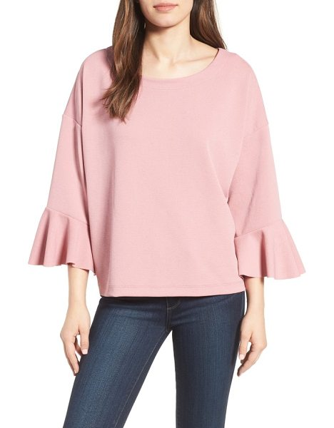 Halogen halogen oversized bell sleeve top in mauve - Fluttery bell cuffs brings a romantic feel to a simple...