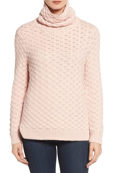 Halogen Halogen bubble stitch sweater in pink smoke - A relaxed turtleneck keeps you super-cozy in a thick...