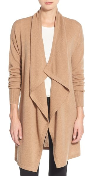 Halogen halogen cashmere long drape front cardigan in heather camel - Wrap yourself in lush softness with a long cashmere...