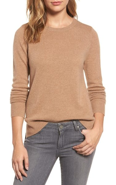 Halogen halogen crewneck cashmere sweater in heather camel - Slip into the decadent softness of pure cashmere knit...