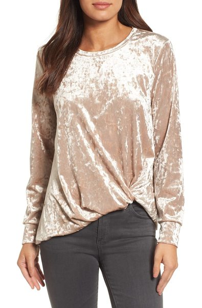 Halogen halogen crushed velvet front tie top in stone - A luxurious crushed velvet texture emboldens this cozy...