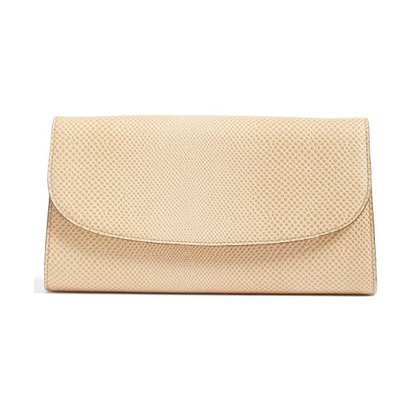 Halogen halogen curved flap leather clutch in tan sparkle lizard - Rich snakeskin-embossed leather composes a...