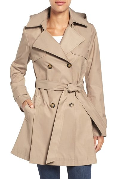 Halogen halogen detachable hood trench coat in sand - A classic double-breasted trench should be part of every...
