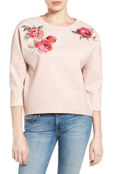 Halogen halogen embroidered knit top in heather pink - Colorful floral embroidery romances a laid-back knit top...