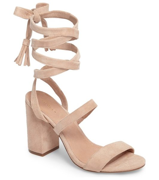 Halogen halogen finley lace-up sandal in nude suede - A block heel boldly lifts a breezy sandal fashioned with...