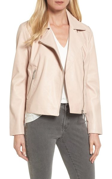 Halogen halogen leather moto jacket in pink wash - Pared-down detail keeps your look clean and timeless in...