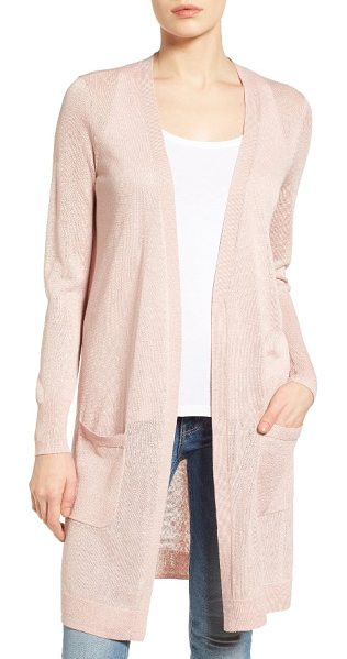 Halogen halogen long linen blend cardigan in pink smoke - Elegantly long and infinitely versatile, a simply styled...
