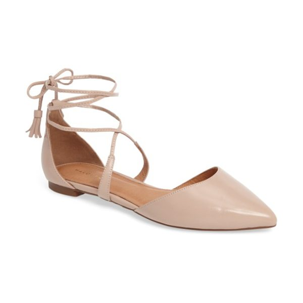 Halogen halogen oliver ankle wrap flat in blush leather - A breezy d'Orsay flat with a pointed toe is secured by...