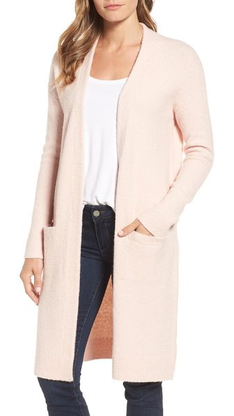 Halogen halogen open front cardigan in pink smoke - Pull together your around-town style with the modern...