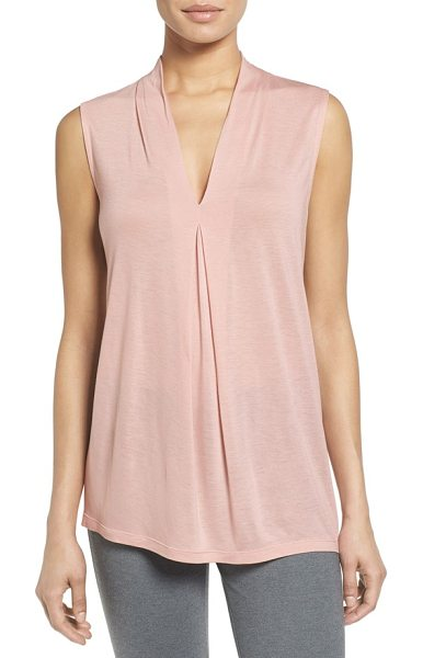 HALOGEN halogen pleat front v-neck top in pink smoke - A favorite top is updated for fall in a fresh array of...