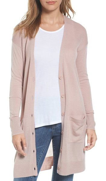 Halogen halogen rib knit wool blend cardigan in pink adobe - Ribbed stitching through the torso enhances the long,...