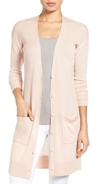 HALOGEN Halogen rib knit wool blend cardigan - Ribbed stitching through the torso enhances the long,...