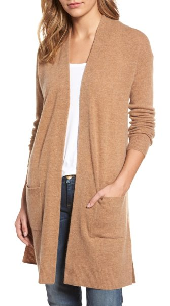 Halogen halogen rib knit wool & cashmere cardigan in heather camel - A longline cardigan that layers beautifully over your...