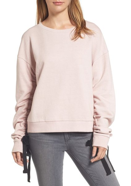 Halogen halogen ruched tie sleeve sweatshirt in pink adobe - Velvety ribbons accent the ruched sleeves of a...