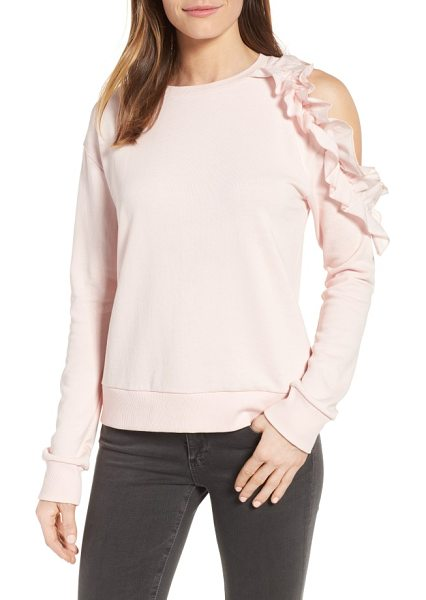 HALOGEN halogen ruffled cold shoulder sweatshirt - Cozy meets flirty in this classic French-terry...
