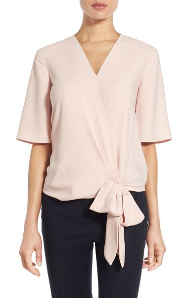 Halogen Halogen short sleeve wrap front blouse in pink smoke - Softly flowing ties at the front waist reinforce the...