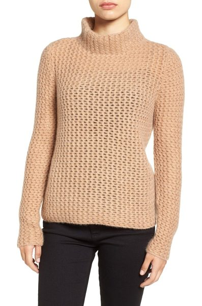Halogen halogen stitch detail cashmere mock neck sweater in heather camel - Textured openwork stitching lightens the look of a cozy...