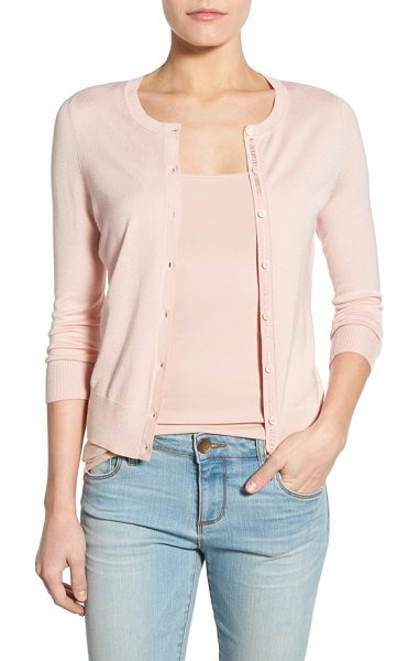 Halogen halogen three quarter sleeve cardigan in pink smoke - An enduring favorite, the crewneck button-up cardigan,...