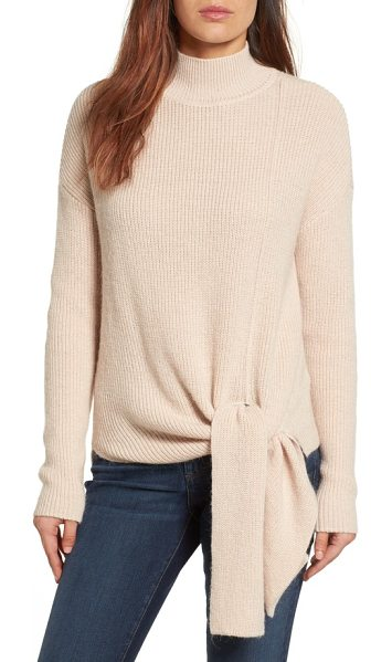 Halogen halogen tie hem sweater in soft pink - A fall mainstay, the cozy turtleneck-this one with a...