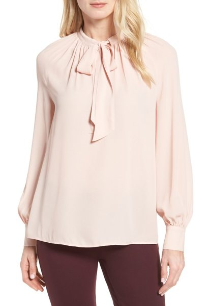 Halogen halogen tie neck blouse in pink smoke - Soft gathers and flowing ties at the banded neckline...