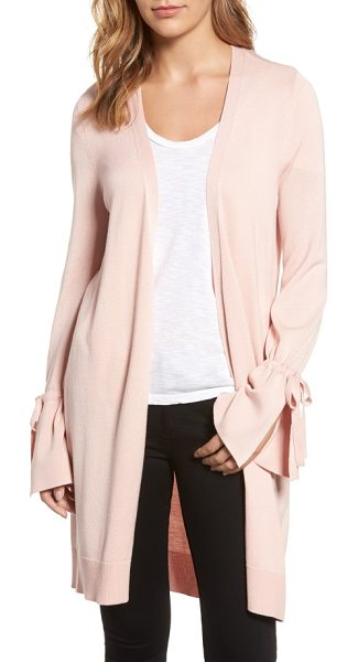 Halogen halogen lightweight tie sleeve cardigan in pink smoke - Drawstring ties cinch the sleeves to create romantic...