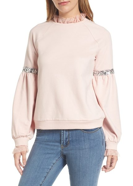 HALOGEN halogen tulle and sequin sweatshirt - Your favorite casual crewneck gets jazzed up with...