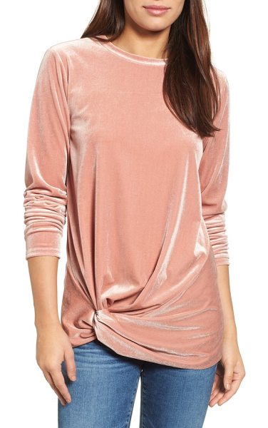 Halogen halogen twist front velvet top in pale pink - Elevate your ensemble in this velvety-rich top featuring...