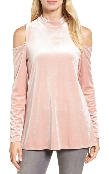Halogen halogen velvet cold shoulder top in pink smoke - Luxe velvet puts a festive spin on a trendy,...