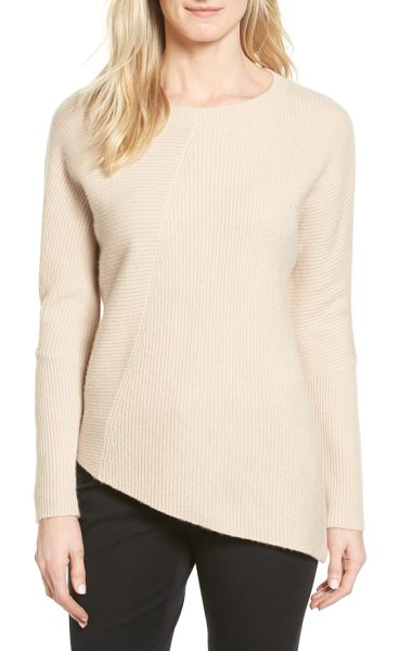 Halogen halogen wool & cashmere tunic sweater in heather oatmeal - Multidirectional ribbing accentuates the asymmetrical...