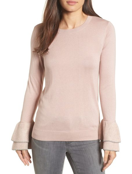Halogen halogen metallic trim flare cuff sweater in pink adobe - Layered flare cuffs dipped in sparkly metallic trim add...