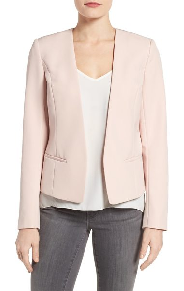 HALOGEN petite  halogen open front jacket in pink peach - A polished jacket with streamlined styling and a peplum...