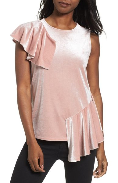 HALOGEN halogen velvet ruffle top - Romantic ruffles at the opposite shoulder and hem add...