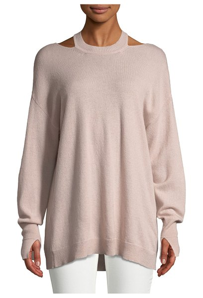 Halston Cashmere Cutout Long-Sleeve Sweater in tuberose - Halston Heritage sweater with shoulder/back cutouts....