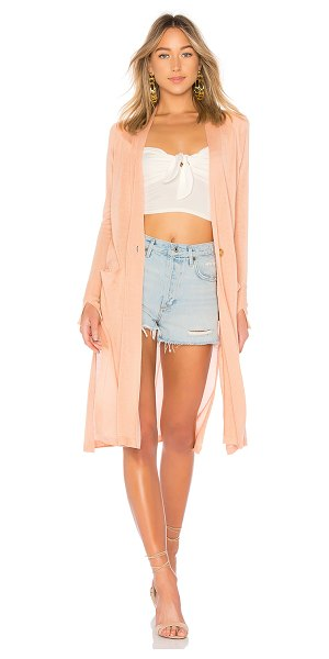 Halston Duster Cardigan in pink - 85% silk 15% cashmere. Hand wash cold. Front button...
