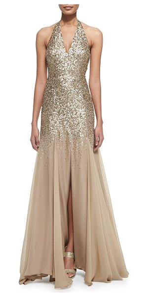 HALSTON Half-sequined halter mermaid gown - Halston gown with sequined top half and poly chiffon...