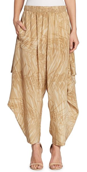 Halston abstract print ruffle pants in khaki botanical print - Flowy side ruffle details update these printed pants....