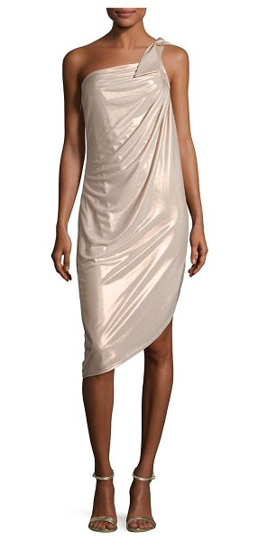 Halston One Shldr Draped Mtllic Jers in pink metallic - Halston Heritage One Shldr Draped Mtllic Jers
