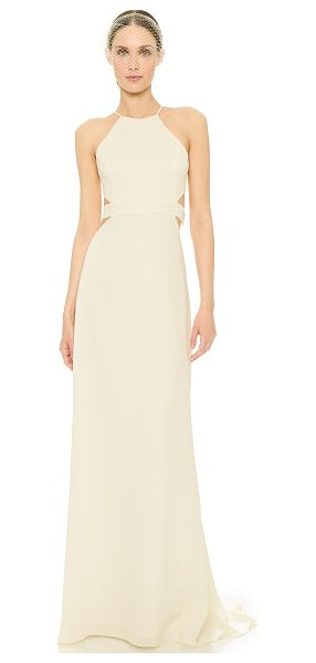 Halston Back cutout gown in bone - Cutouts add a daring feel to this elegant Halston...